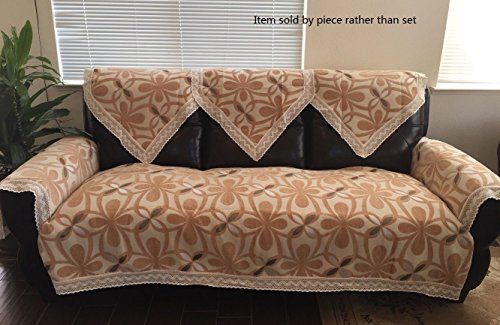 Octorose Chenille Lace Sectional Sofa Throw Covers Furniture Protector Sold By Piece Rather Than Set (Gold, 35x62