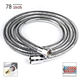 Luxsego Shower Hose - 78 Inches, Flexible Stainless Steel Tube [6.5Ft] for Handheld Shower Head, Extension Replacement Hose with Brass Fitting, Extra Long & Explosion Proof - Chrome Finish