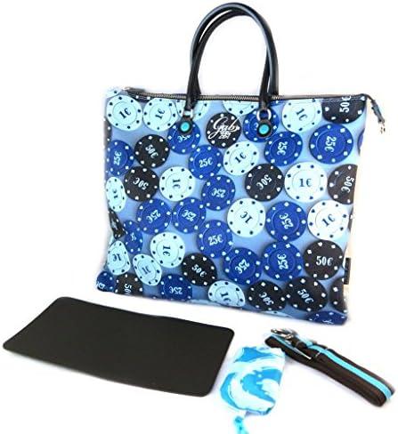 3 in 1 sacchetto 'Gabs'blu (fiches del casinò)(l)- 43x37x2.5 cm.