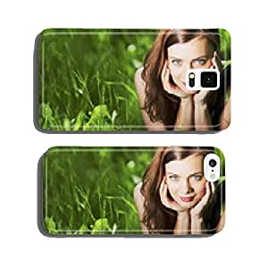Woman laying in a green field cell phone cover case iPhone5