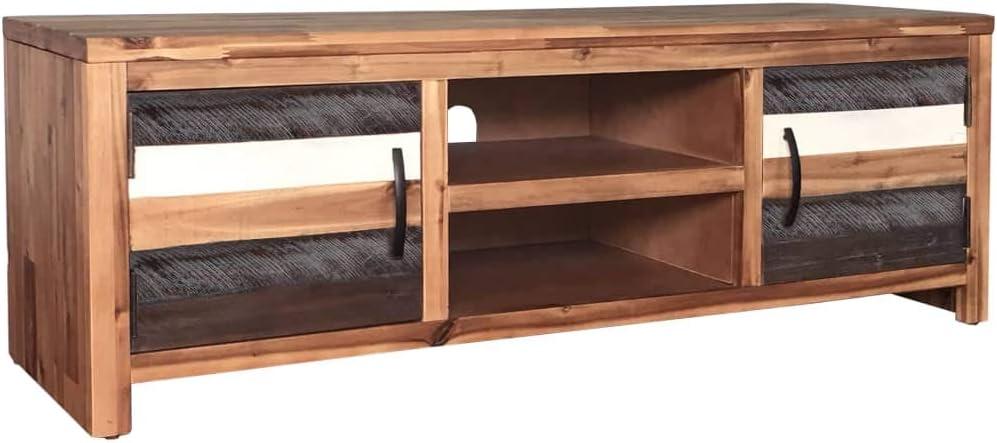Vidaxl Meuble Tv Bois Massif D Acacia 120x35x40 Cm Table Basse De Salon Maison Amazon Fr Cuisine Maison