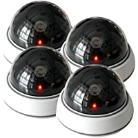WER 4 Pack Dummy Fake Security CCTV Dome Camera with Flashing Red LED Light?No battery included)