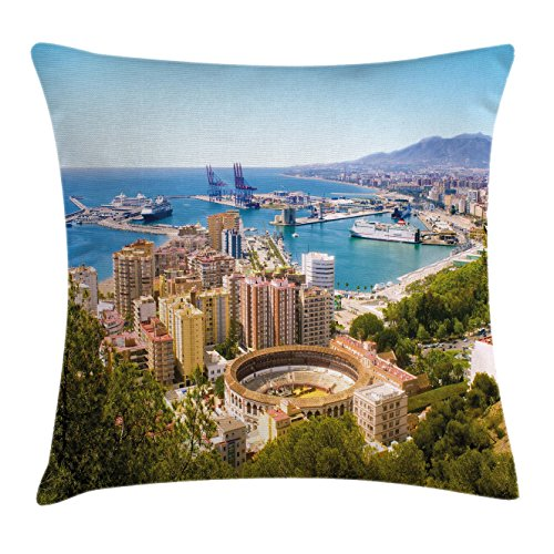 Ambesonne Landscape Throw Pillow Cushion Cover, Aerial View of Malaga with Bullring and Harbor Spain Traditional European City, Decorative Square Accent Pillow Case, 20 X 20 Inches, Multicolor by Ambesonne