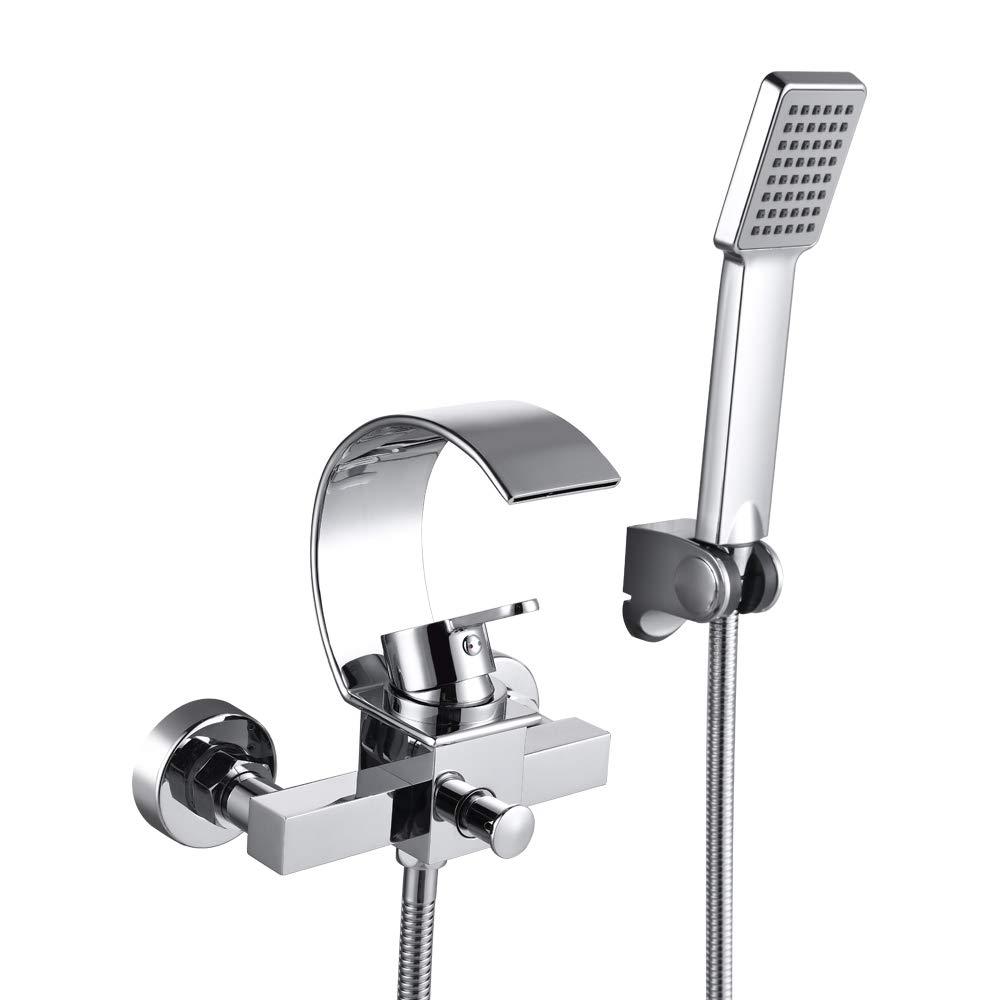 hanpure Modern vasca da bagno rubinetto cascata rubinetto doccia con soffione doccia, Pioggia Doccia, Cromato