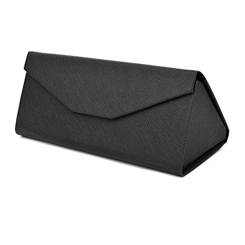 Mianzu Eyeglasses Case - Foldable Case Well Protected Easy to Carry- Matte Leather&Magnet Closure for School,Office. (Black) (Triangle Glasses Case)