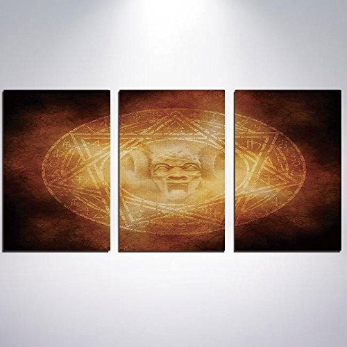 3 Panel Canvas Prints Wall Art for Home Decoration Horror House Decor Print On Canvas Giclee Artwork For Wall DecorDemon Trap Symbol Logo Ceremony Creepy Ritual Fantasy Paranormal Des by iPrint