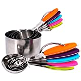 EasyCake Measuring Set - 5 Measuring Spoons and 5 Measuring Cups - Eco-Friendly Stainless Steel Material - Complete Package - Food Safety Silicone and Rubber Insulated | 138.3