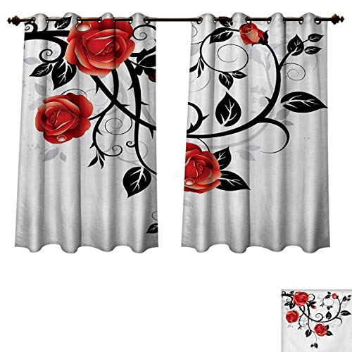 Gothic Blackout Curtains Panels for Bedroom Ornate Swirling Branches with Roses Garden Flower Grunge Style European Decorative Curtains for Living Room Vermilion Black White W55 x L39 inch