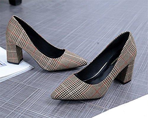 gruesos bombas gruesos de de Comienzo NVXIE primavera verano Brown tacones zapatos la 38 tacones mujer 35 xYRqx87w
