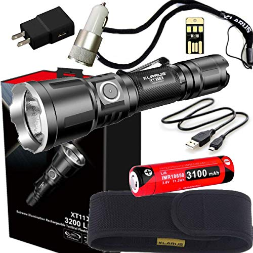 - klarus XT11X Super Bundle Includes 3200 Lumen Tactical Rechargeable Flashlight, 18650 Battery, Holster, Lanyard, USB Charging Cable, USB Wall Adapter, USB Car Adapter, and Mini USB Light