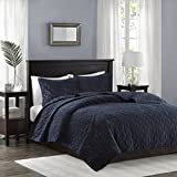 quilts coverlets - Madison Park Harper Velvet King/Cal King Size Quilt Bedding Set - Navy, Geometric – 3 Piece Bedding Quilt Coverlets – Velvet with 90% Cotton Filling Bed Quilts Quilted Coverlet