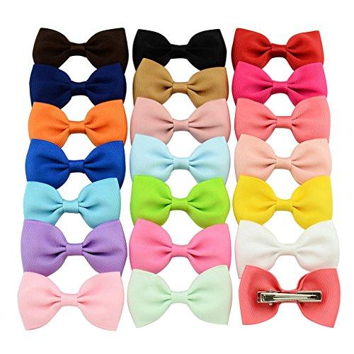 WALLER PAA 20Pcs Hair Bows Band Boutique Alligator Clip Grosgrain Ribbon For Girl
