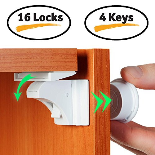 Baby Proofing Magnetic Locks - Baby Proof Cabinet Kitchen Bathroom Drawers Locks for Child Safety - Easy to Install Childproof Cabinet Locks for Infants or Kids 16 Latches and 4 Keys by BabyTrust
