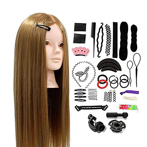 Neverland Beauty 24inch 50% Real Hair Training Head Hairdressing Mannequin Head With Makeup Function + Braid Set from Neverland Beauty & Health