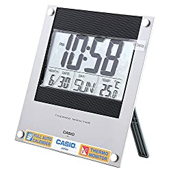 Casio Id-11-1 Digital Auto Calendar Thermo Hygrometer Wall and Desk Clock with Indoor Temperature Silver Blue Battery Included