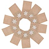 MACTING Christmas Burlap Cutlery Pouch, 3.5 x 7 inches Xmas Burlap Knife Folk Napkin Holders with White Snowflake for Christmas Wedding Party Bridal Shower Rustic Decoration, Pack of 10
