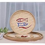 100% Handwoven Flat Wicker Round Fruit Basket Woven Food Storage Weaved Shallow Tray Bin Vegetable Organizer Holder Bowl Decorative Rack Display Kids DIY Art Drawing Board Tablet Paint (42cm)