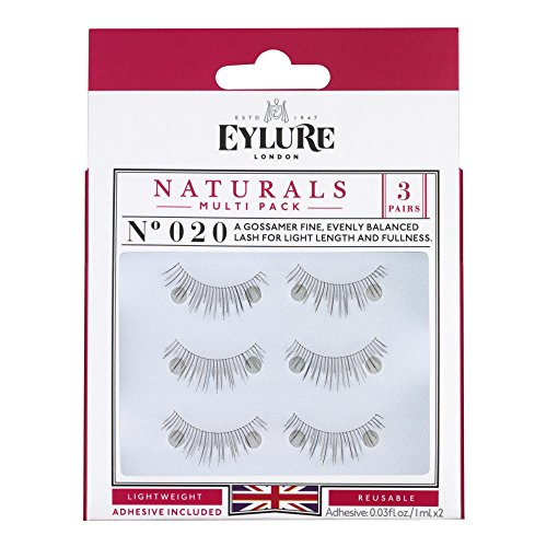 Eylure Fake Eyelash and Adhesives, 020/Black, 3 Count