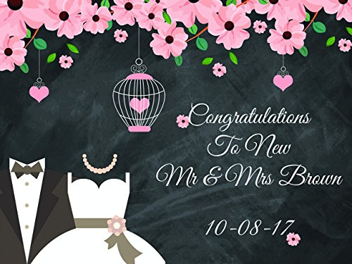 Custom Congrulations Mr Mrs Wedding Party Poster - sizes 36x24, 48x24, 48x36; Personalized Wedding Home Decorations, Handmade Party Supply Photo Booth (Homemade Halloween Photo Backdrops)