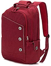 KINGSLONG Women Laptop Backpack 15.6 Inch Unique Button Style Slim and Stylish Computer Bag Shockproof Large Capacity College School Backpack for Travel Business Work Day Pack
