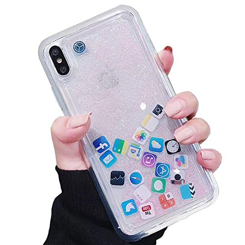 - SGVAHY Liquid Glitter Case for iPhone 7 Plus, Hard Back Colorful Bling Quicksand with iOS Icon Soft Rubber TPU Bumper Protective Case Cover for iPhone 8 Plus. (Pink, iPhone 7 Plus / 8 Plus)