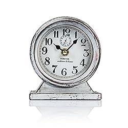 Dannto Retro Vintage Metal Frame Decorative Non-ticking Clock Art Home Decor Desk Clock (One size, Grey-round)