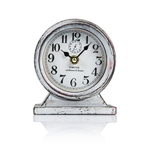 Metal Vintage Desk (Dannto Retro Vintage Metal Frame Decorative Non-ticking Clock Art Home Decor Desk Clock (One size, Grey-round))