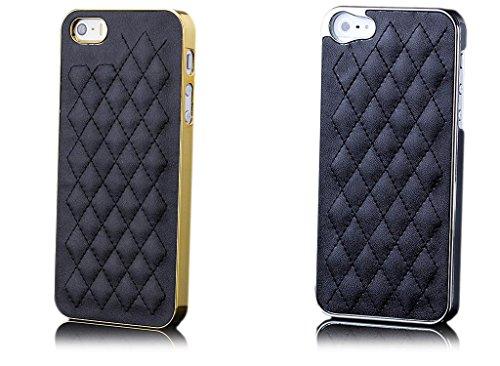 iCues Apple iPhone 5/5S/SE Chrom Design Cover - Silber Schwarz - Exklusives Design mit gestepptem Lederimitat + Displayschutzfolie