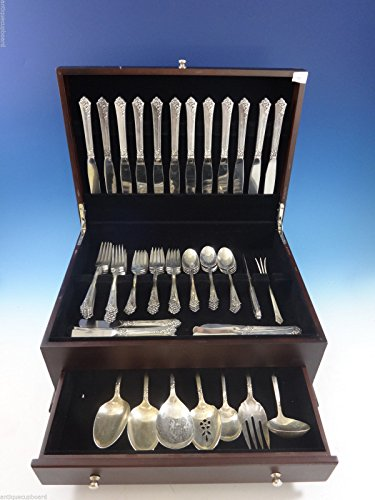 Damask Rose Flatware (Damask Rose by Oneida Sterling Silver Flatware Set For 12 Service 69 Pcs)
