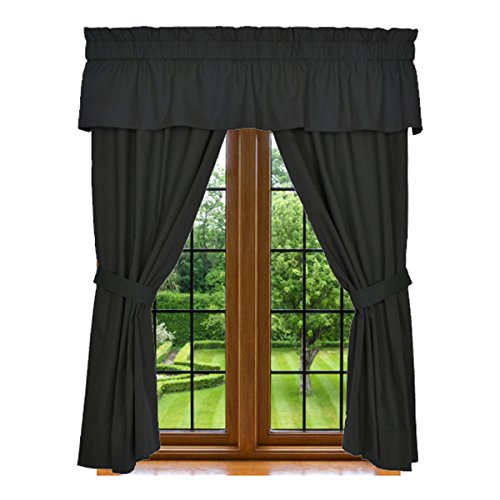 "Window Curtain - 5 Piece Set, 2 Panels 84"" X 42"", 15"" X 80"" Valance, and 2 Tie Backs, Black, 100% Microfiber, Machin Washable, By Clara Clark"