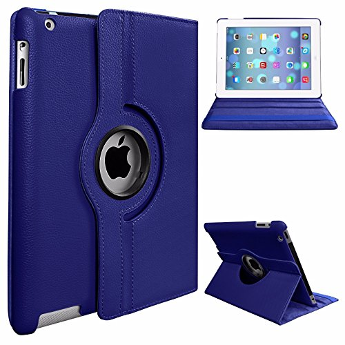 BEESCLOVER 360 Degree Rotating Stand PU Leather Case Cover for Apple iPad2 iPad3 iPad4 Green