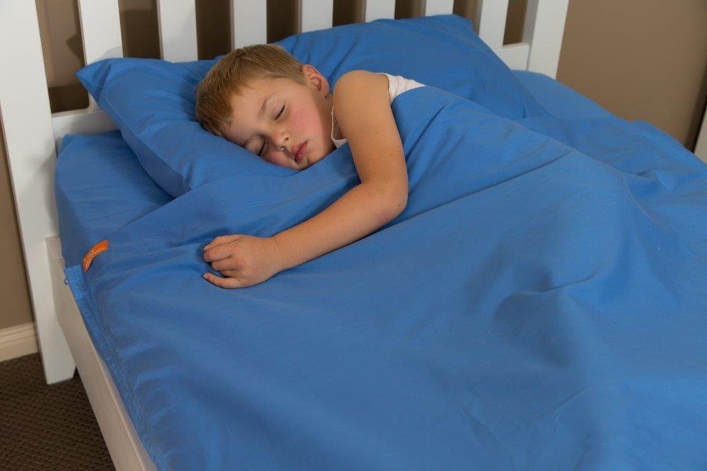 100% Cotton Bright Blue Kids Zip Sheets to Fit a Full Size Bed - Zip up Bed Sheets
