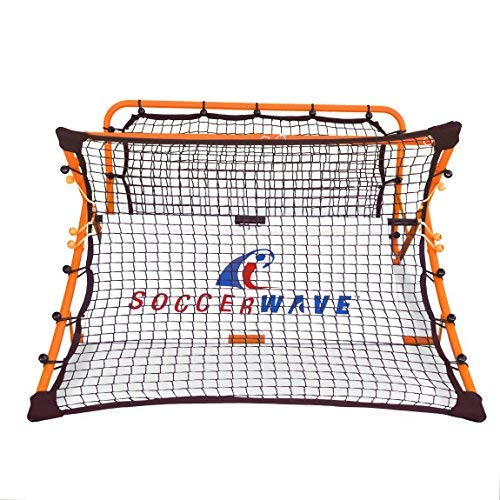 Patented,Trademarked SoccerWave Jr. 2 in 1 Soccer Rebounder net to Improve Passing Accuracy, Volley Shot and Trapping. Works as a Solo Trainer or Team Training for All Soccer Drills. (Soccer Drills To Work On First Touch)