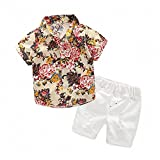 Hawaiian Outfits Toddler Boys Flower Button-Down Shirts and Shorts Clothes Set (Beige, 130(6T))