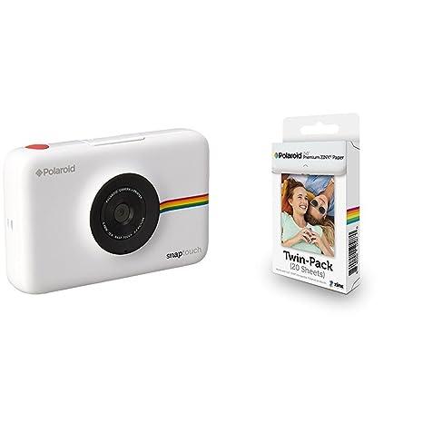 Polaroid Snap Touch cámara digital con impresión instantánea y pantalla LCD (blanco) con tecnología Zero Zink + Polaroid Premium Zink Paper - Paquete ...