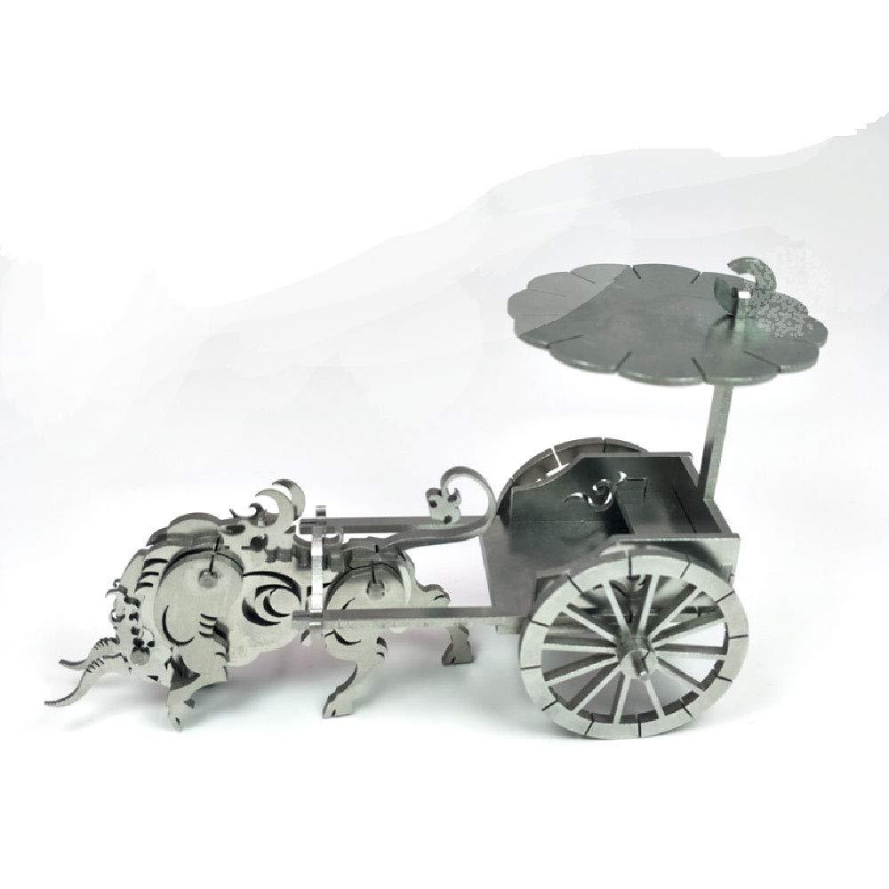ILYO Los niños Bloques de construcción 3D Jigsaw Metal montado Modelo Zodiac OX Coche Juguete Ornamentos Regalo Puzzle Hecho a Mano Tridimensional