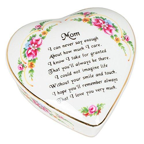 Mom Sentiment Floral Porcelain Heart Shaped Keepsake Box ()