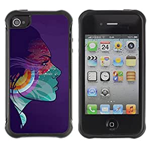 Hybrid Anti-Shock Defend Case for Apple iPhone 4 4S / Colorful Girl Psychedelic