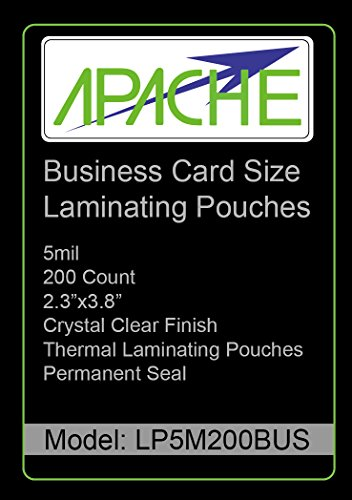Apache Laminating Pouches, 5 mil (5mil, Business Card, 200 Pack)