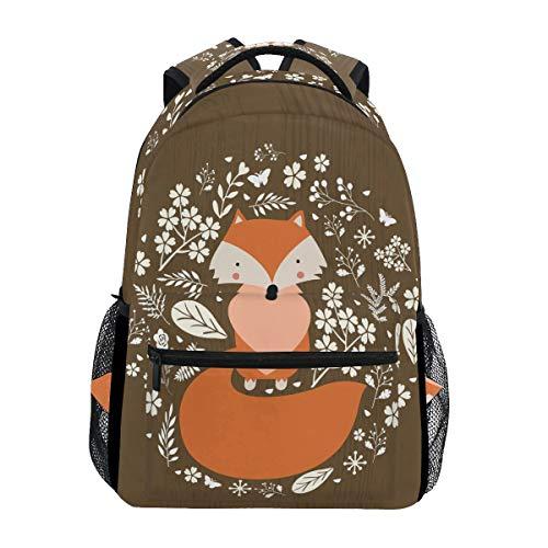 Daisy Flower Fox Backpack Bookbag for Boy Girl Large Travel Laptop Shoulder Bag for Women Men