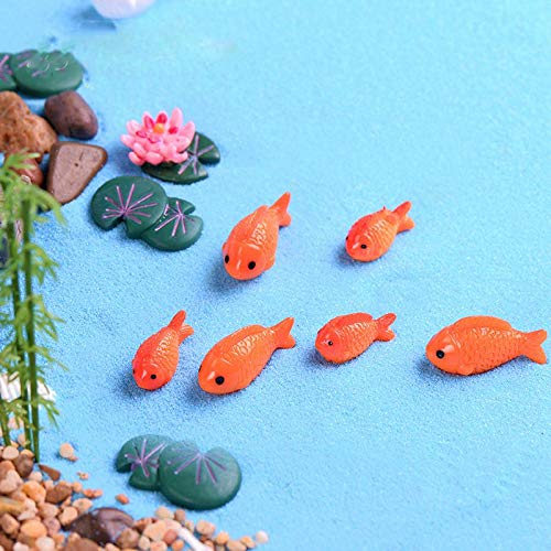 Nrpfell 8pc/lot Red Fish Miniature Figures Decorative Mini Fairy Garden Animals Moss Micro-Landscape Ornaments Resin Baby Toy
