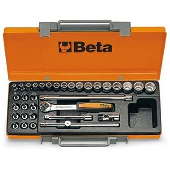 Beta 900/C29 - Juego de llaves de vaso (29 unidades, controladores, barras de extensión, mango en T y trinquete reversible: Amazon.es: Amazon.es