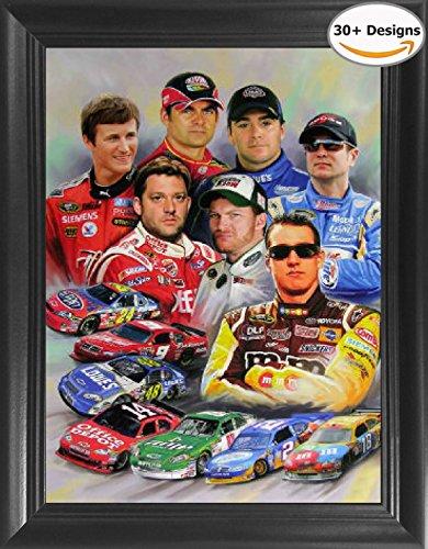 Nascar Stars; Jeff Gordon, Dale Earnhardt Jr & Sr, Danica Patrick, Jimmie Johnson, Tony Stewart Framed 3D Lenticular Poster - 14.5x18.5