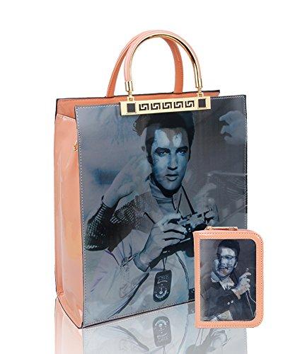 Redfox Women's Set 2IN1 3D Effect Elvis Presley Patent Leather Shoulder Tote Handbag/Shopper Bag + Small Purse Wallet Rosecloud