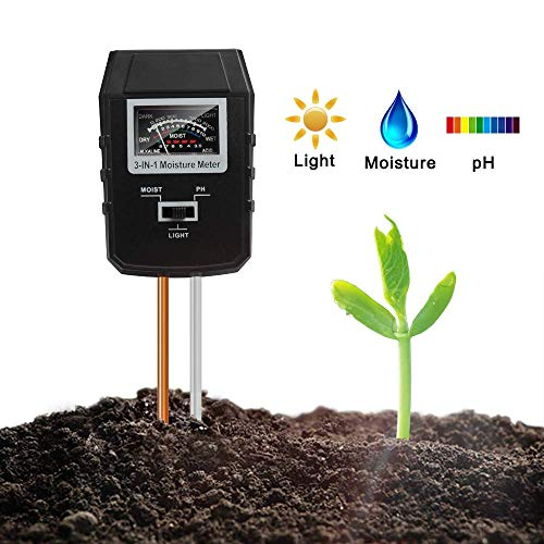Mosthink Soil Tester 3 In 1 , Updated Moisture Light PH Meter Kit for Soil Garden Lawn Indoor Outdoor Plants Care (No Battery Needed)
