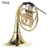 Walmeck Muslady French Horn B/Bb Flat 3 Key Brass Gold Lacquer Single-Row Split Wind Instrument with Cupronickel Mouthpiece Case