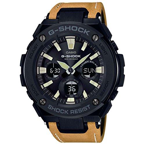 Casio G-Shock Steel Black Dial Leather Strap Men's Watch - Shock Watch Casio G Large X