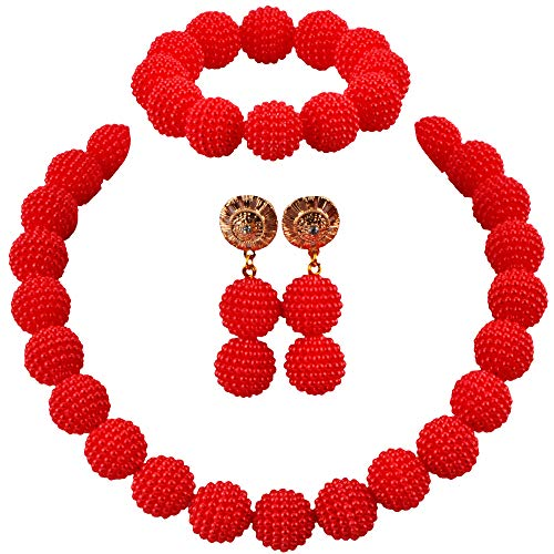 aczuv Nigerian Wedding African Beads Jewelry Set Women Simulated Pearl Necklace and Earrings (Bead Necklace Earring Set)
