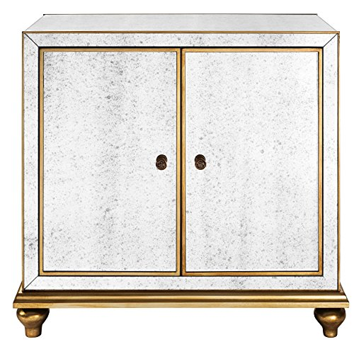 Pulaski Antique Mirrored Wine Door Cabinet with Gold Trim