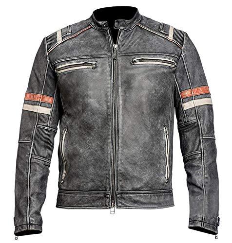 Vintage Caf頒acer Motorcycle Leather Jacket, Distressed Black, X-Large ()